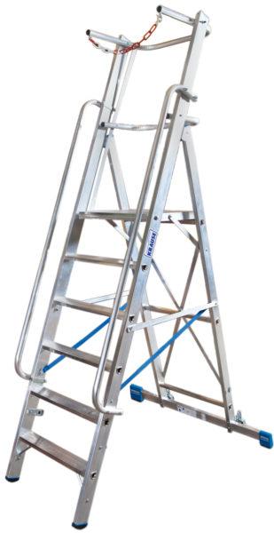 STABILO drabina wolnostojąca z dużą platformą i barierkami zabezpieczającymi